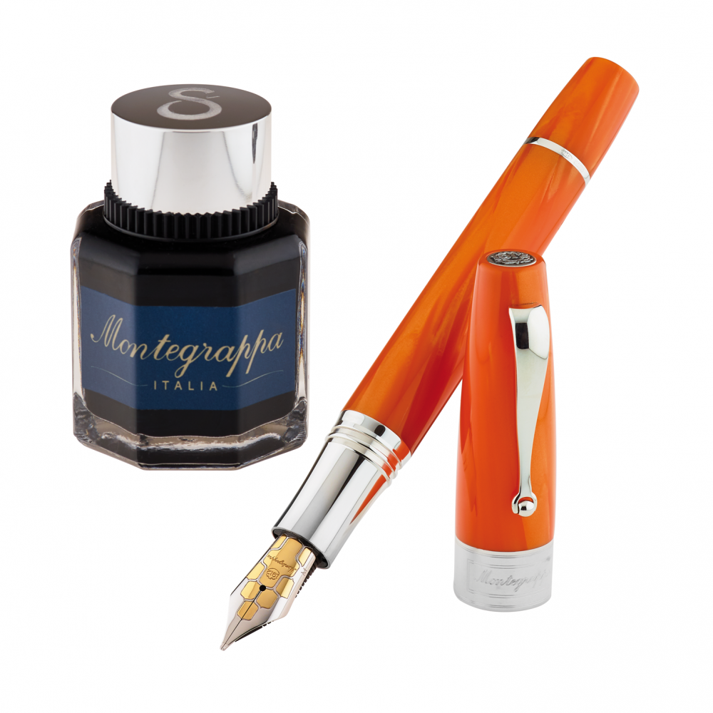 "Stylo-plume ""Montegrappa for Le Stylographe"" - Celluloïd Orange - Plume F"