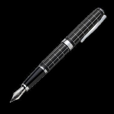 Stylo-plume Excellence A plus Rhomb guilloché lapis noir chrome - M