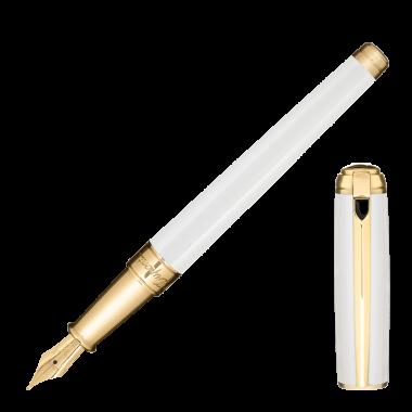 Stylo-plume Line D Blanc Nacré - Or Jaune