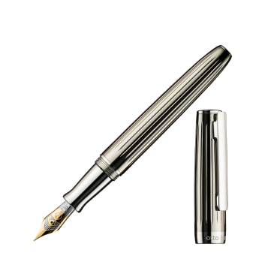 Stylo-plume Design 07, Corps et Capuchon en laiton platiné, laque transparente noire - M
