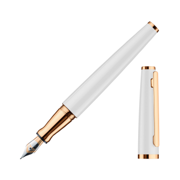 Stylo-plume Otto Hutt Design 06 laqué blanc, attributs or rose - F