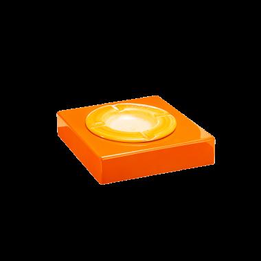 Cendrie en bois. Vernis Polyester Orange