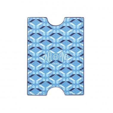 Porte-cartes PINEL & PINEL hublot en toile enduite azur - chevre fuschia