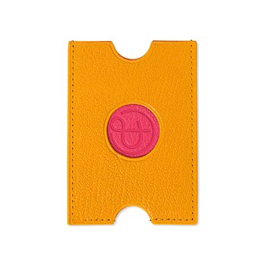 Porte-cartes PINEL & PINEL hublot en toile enduite mocaccino - chevre fuschia