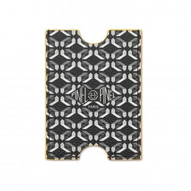Porte-cartes PINEL & PINEL hublot en toile enduite perfect black - chevre fuschia