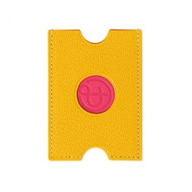 Porte-cartes PINEL & PINEL hublot en toile enduite poppy - chevre fuschia