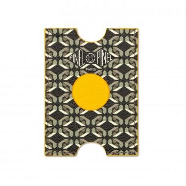 Porte-cartes PINEL & PINEL hublot en toile enduite sexy black - chevre fuschia
